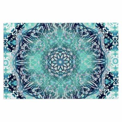 Aqua Ikat Batik Mandala Doormat