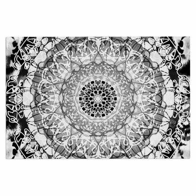 Tie-Dye Mandala Jain Doormat Color: Black/White