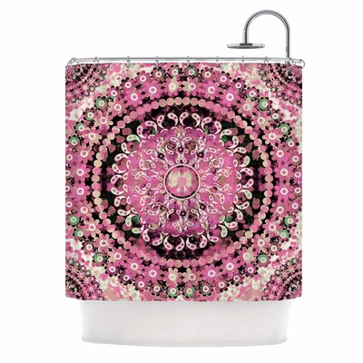 Pink Mosaic Mandala Illustration Shower Curtain