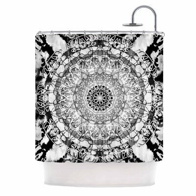 Tie-Dye Mandala Jain Shower Curtain Color: Black/White