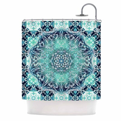 Aqua Ikat Batik Mandala Mixed Media Shower Curtain