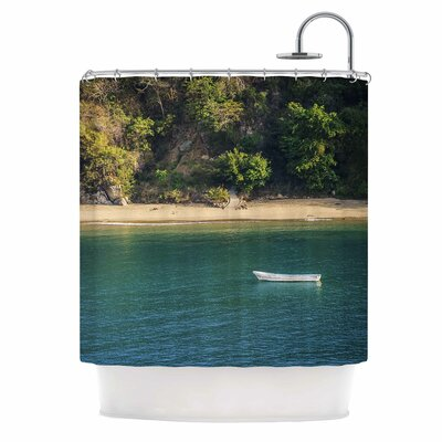 Lonely Boat on Coast Photography Shower Curtain