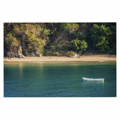 Lonely Boat on Coast Doormat