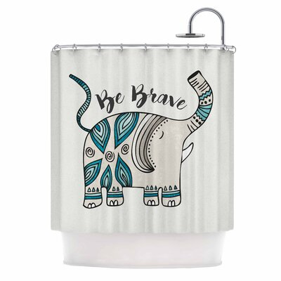Be Brave Typography Shower Curtain