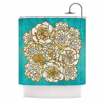 Bohemian Succulents II Shower Curtain Color: Teal