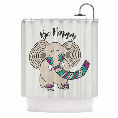 Be Happy Typography Shower Curtain