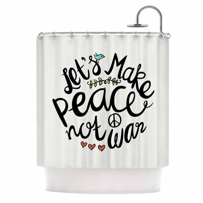 Peace Not War Typography Illustration Shower Curtain