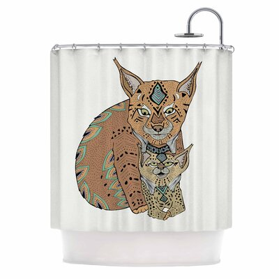 Mama and Baby Lynx Vector Shower Curtain