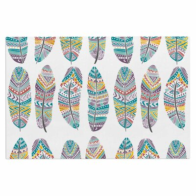 'Happy Feathers' Tribal Illustration Decorative Doormat
