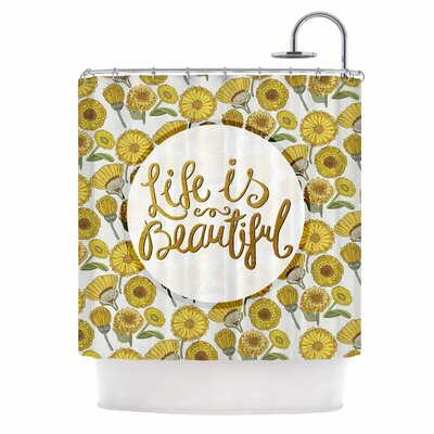 Life is Beautiful Typography Illustration Shower Curtain