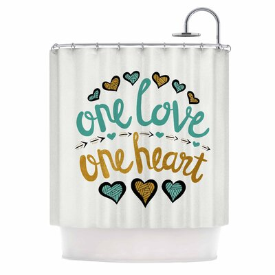 One Love One Heart Typography Illustration Shower Curtain