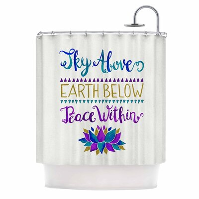 Sky Above Peace Within Typography Shower Curtain