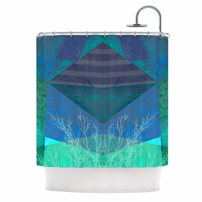 Turquoise Blue Pattern - 19A Mixed Media Shower Curtain