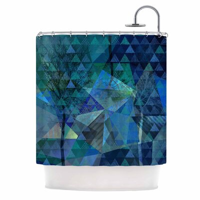 Triangles Blue Melange Shower Curtain