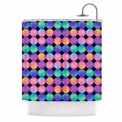 Colorful Watercolor Octagons Shower Curtain