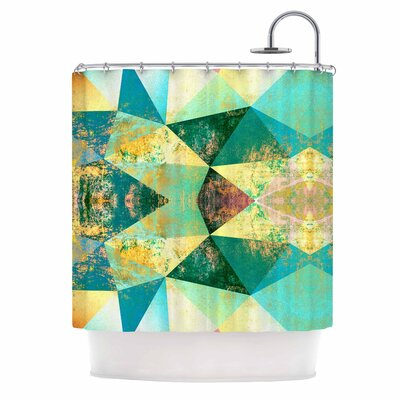 'Polygon Diamond II' Mixed Media Shower Curtain