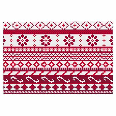 Red Fairisle Christmas Pattern Doormat