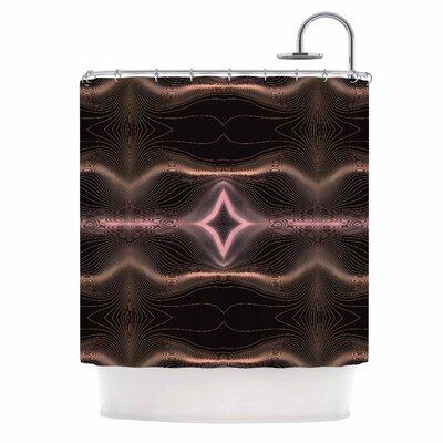 Hazelnut Pale Line Vibes Digital Shower Curtain