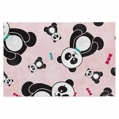 'Panda Freefall in Pink' Doormat