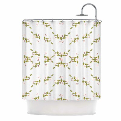 Holiday Holly Berries Shower Curtain