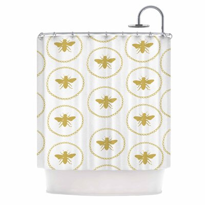 Busy As a Bee White and Maize Nature Shower Curtain