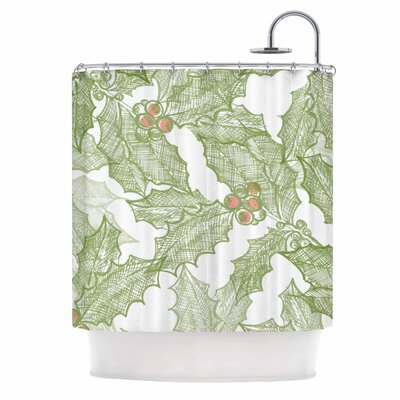 Vintage Sketched Holly Shower Curtain