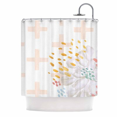 Bright and Pretty Shower Curtain Color: Pink/Coral/White