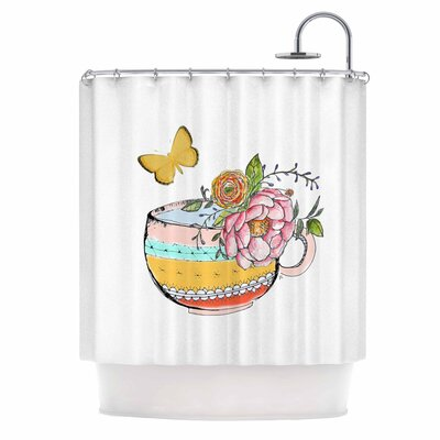 Tea Cup Vase Vintage Shower Curtain