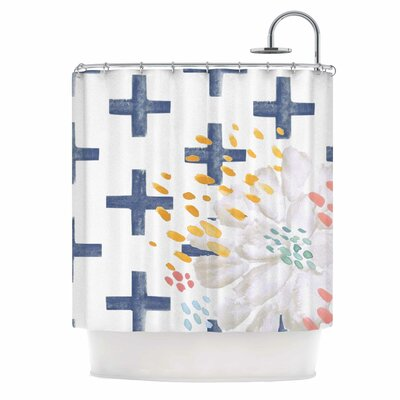 Bright and Pretty Shower Curtain Color: Navy Blue/White