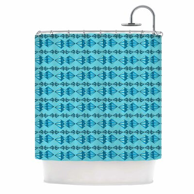 Blue Diamond Stripe Illustration Shower Curtain
