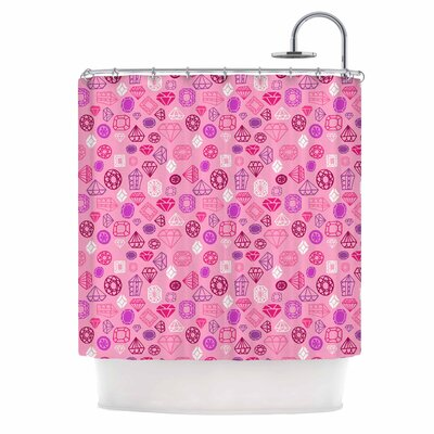 Pink Gems Illustration Shower Curtain