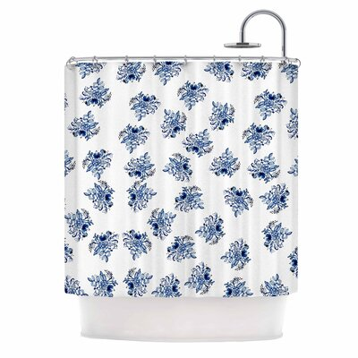 Blue Garden Flowers Shower Curtain