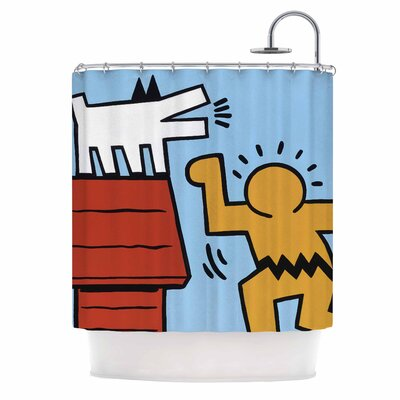 Haring-Schulz Illustration Pop Art Shower Curtain