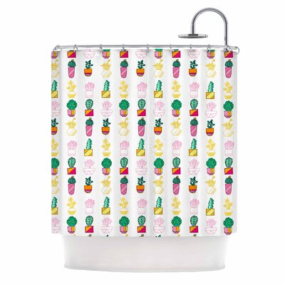 Succulent Cali Cacti Illustration Shower Curtain