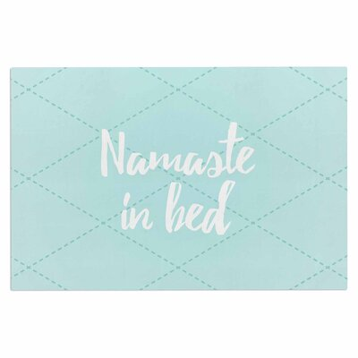 Namaste in Bed Doormat Color: Teal/Blue/White