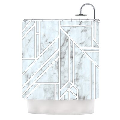 Marble Mosaic Digital Shower Curtain Color: White/Blue Snow