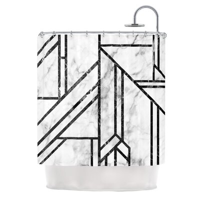 Marble Mosaic Digital Shower Curtain Color: Black/Blue Snow