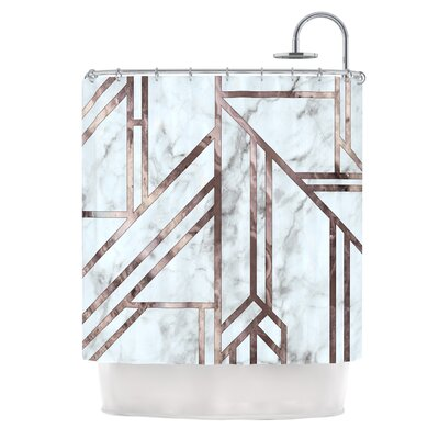 Marble Mosaic Digital Shower Curtain Color: Brown/Blue Snow