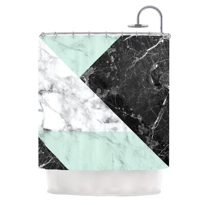 Geo Marble Digital Shower Curtain Color: Mint/Black