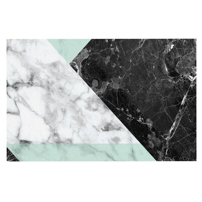'Geo Marble' Art Deco Decorative Doormat Color: Mint/Black