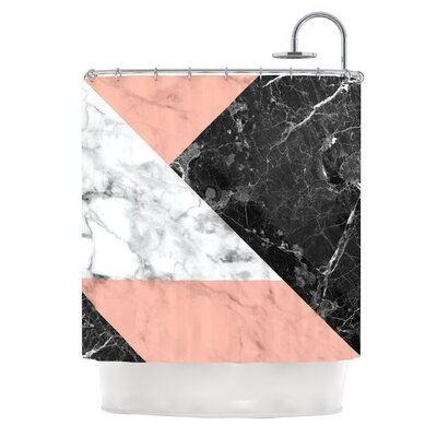 Geo Marble Digital Shower Curtain Color: Coral/Black
