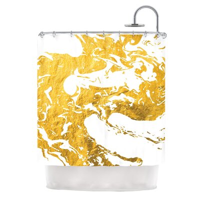 Gold Ink on Water Metal Shower Curtain