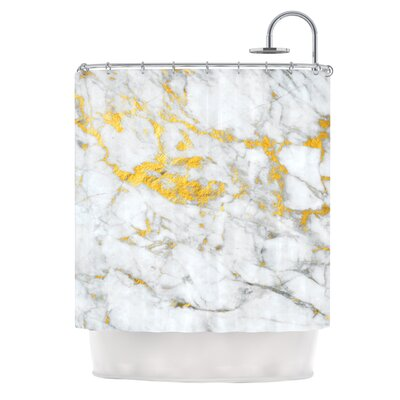 Gold Flake Marble Metal Shower Curtain
