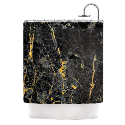 Gold Fleck Black Marble Digital Shower Curtain