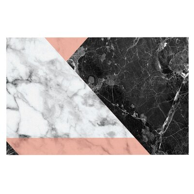Geo Marble Art Deco Decorative Doormat Color: Coral/Black