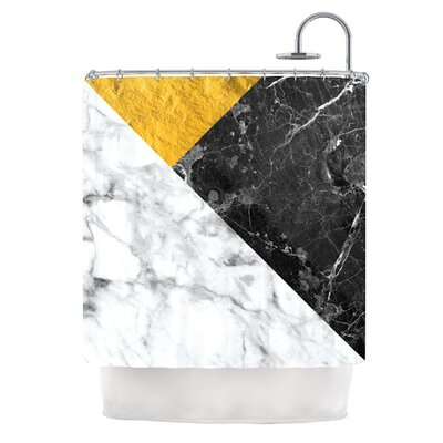 Geo Marble Digital Shower Curtain Color: Gold