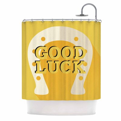 'Lucky Horseshoe' Typography Shower Curtain