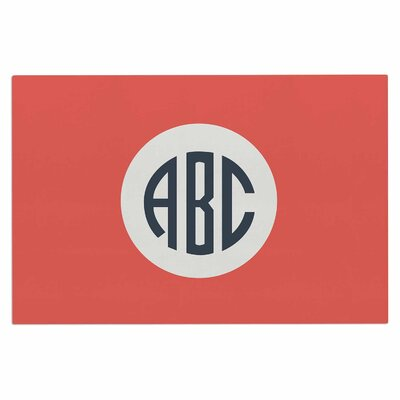 Classic Red Circle Monogram Digital Illustration Decorative Doormat