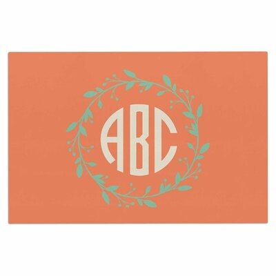 Classic Orange Wreath Monogram Doormat