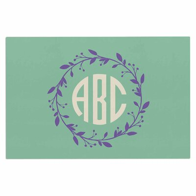 Classic Wreath Monogram Doormat Color: Green/Lavender